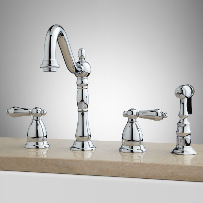 Helena Widespread Kitchen Faucet With Hand Spray Chrome Signature