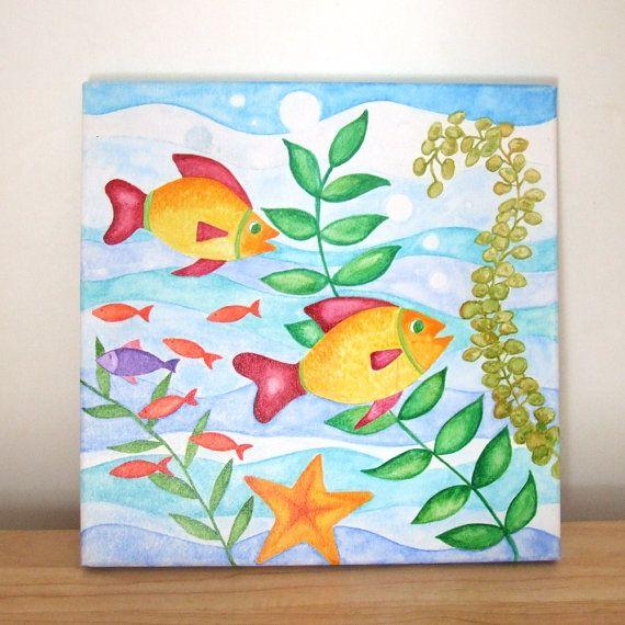 Original Painting, HAPPY FISH, 12x12 Watercolor Canvas, Underwater Art, Kids  Room, Beach Decor