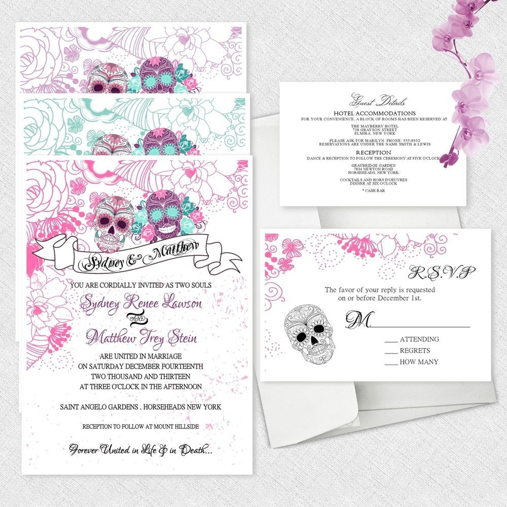 Sugar Skull Wedding Invitations Day Of The Dead Invitation Dia De ...