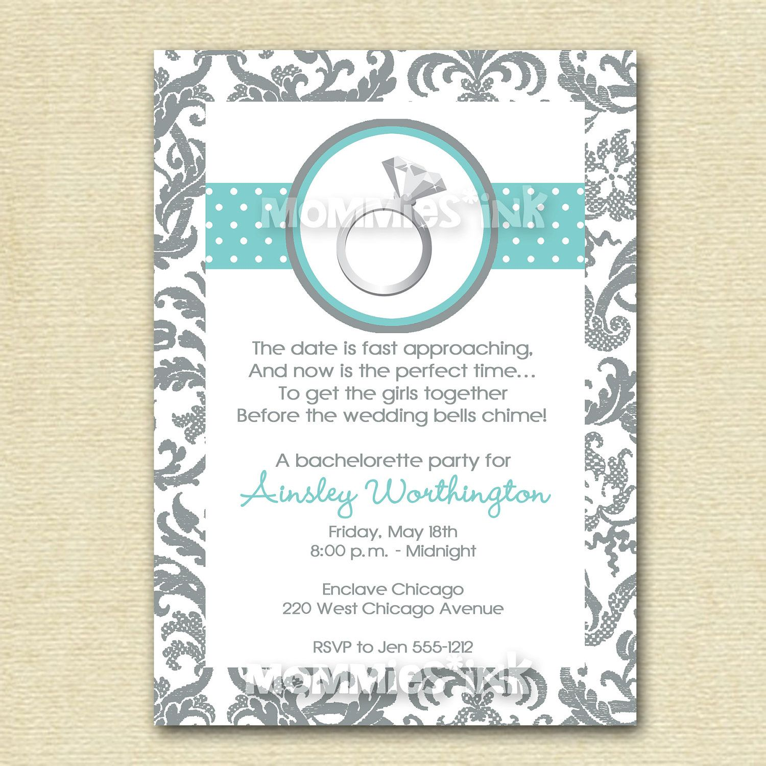 Bachelorette or Engagement Party Invitation - Engagement Ring ...