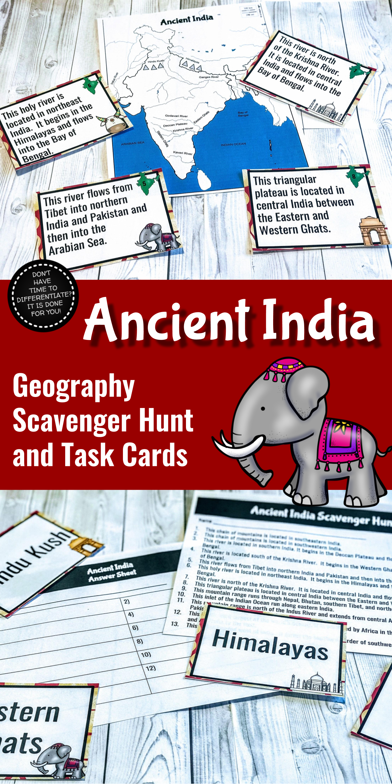 Ancient India Geography Scavenger Hunt And Task Cards