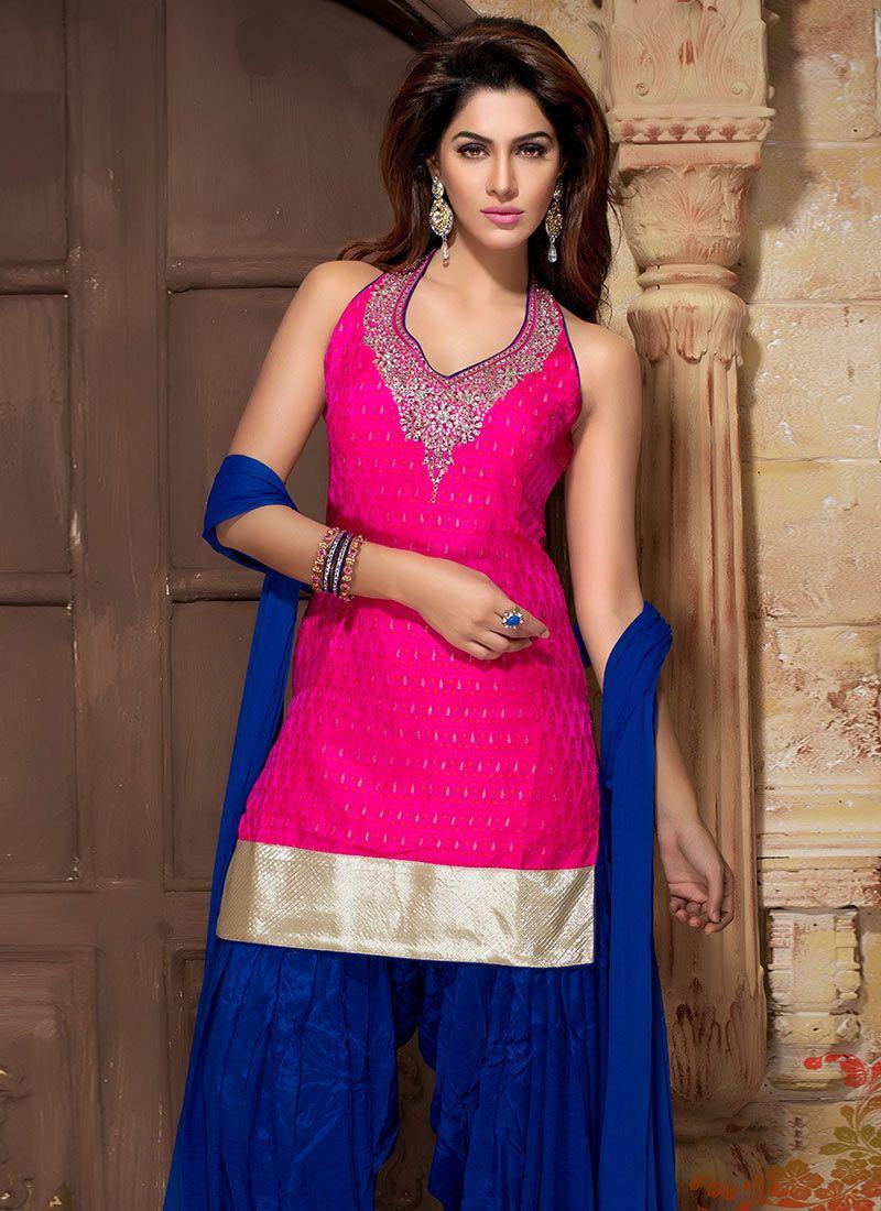 raw silk blue and pink punjabi patiala suit | Suit Patiala Shahi ...