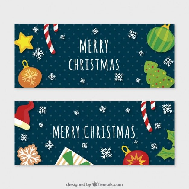 Hand painted christmas things banners Free Vector