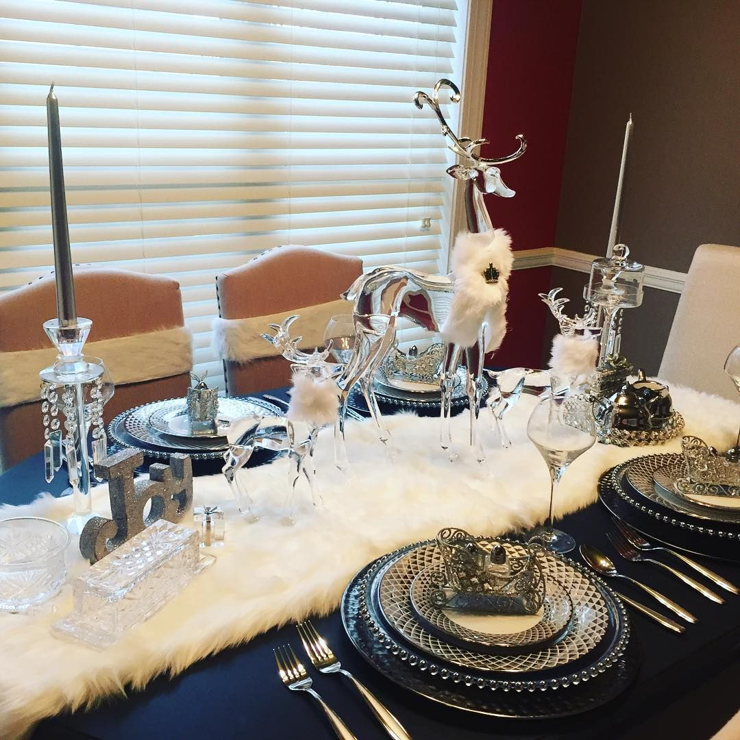 White Christmas Tablescape  The Fur Table Runner Is From @tjmaxx !