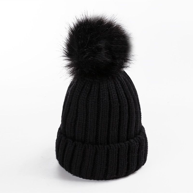 New Faux Fur Ball Solid Winter Hats For Women Girl s Wool Knitted Hat  Ladies Cotton Beanies Thick Female Cap-in Skullies   Beanies from Women s  Clothing ... c595936a1c39