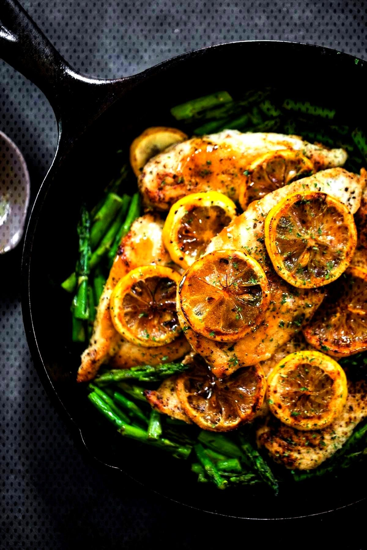 5 Ingredient Lemon Chicken with Asparagus is a bright, fresh, healthy dinner that comes together in