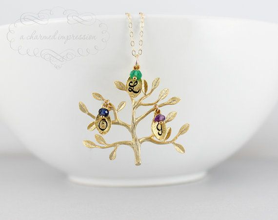 GOLD Family Tree Necklace - Gold Tree Of Life Pendant, Birthstones, Engraved Initial, Up to 9 Initials, Mother Necklace, Grandmother Jewelry on Etsy, $34.00