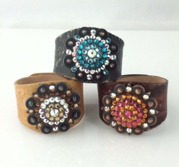 Leather Cuffs with Swarovski Crystals - Add a giant splash of bling to any outfit with a gorgeous cuff by Rodeo Envy. - $45