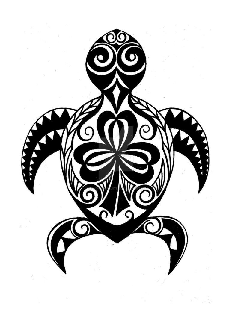 Hawaiian Turtle Honu With Irish Shamrock Tattoo By
