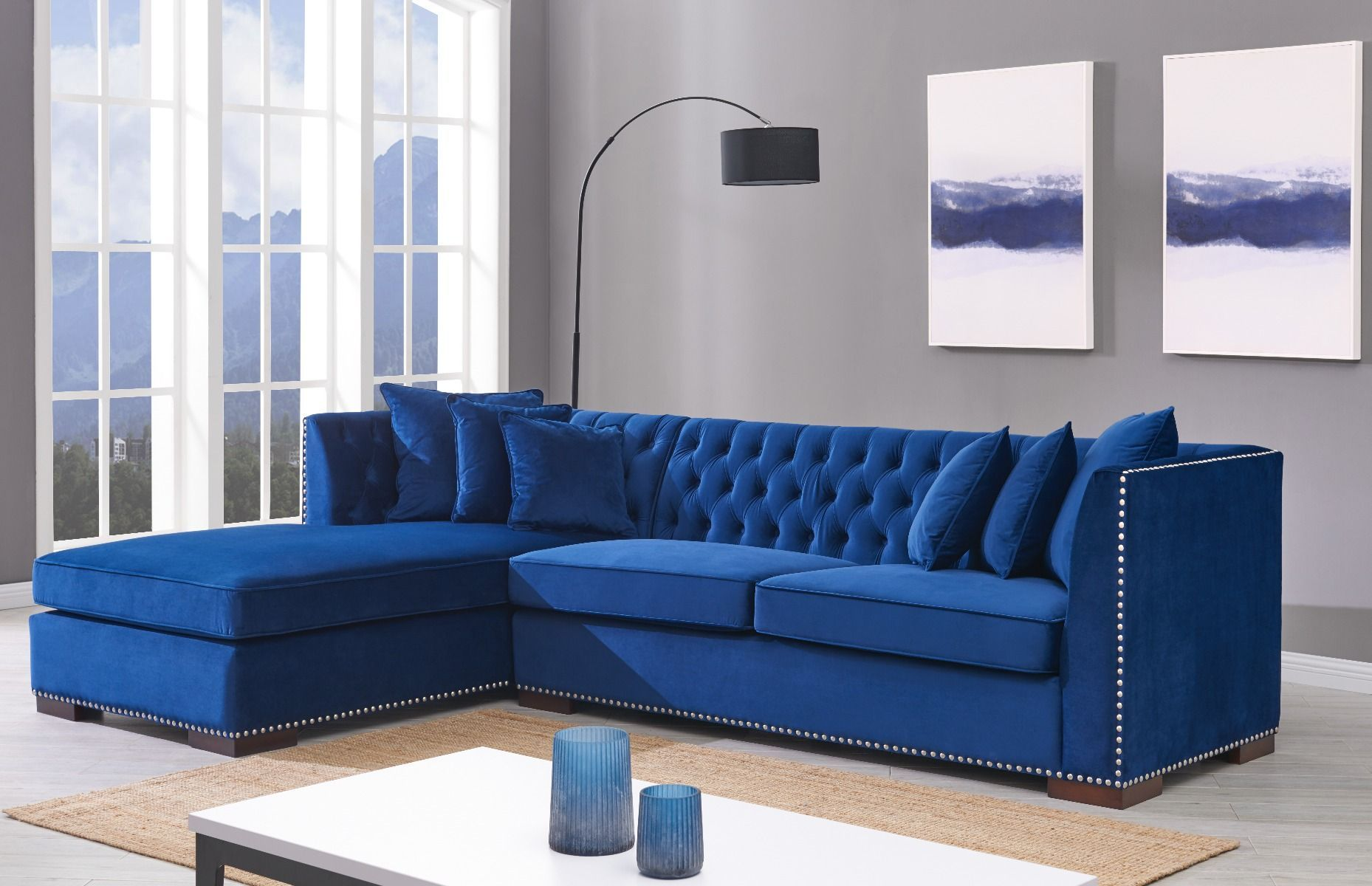 Royal Blue Velvet Corner Suite Hanaley Interiors Royal Blue Sofa Blue Sofas Living Room Blue Corner Sofas