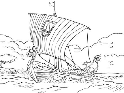 Longship Viking Sea Vessel coloring page | SCA Kids | Pinterest ...