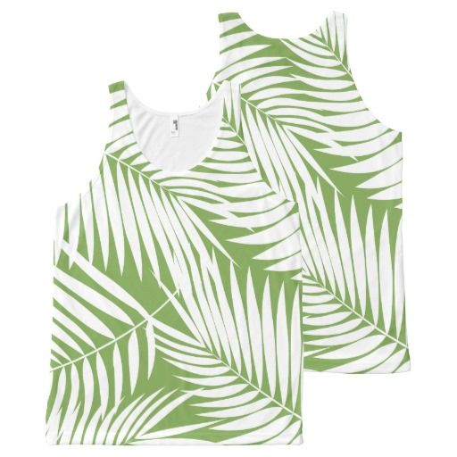 Kona Palms Hawaiian Leaf Tropical All-Over Print Tank Top Tank Tops