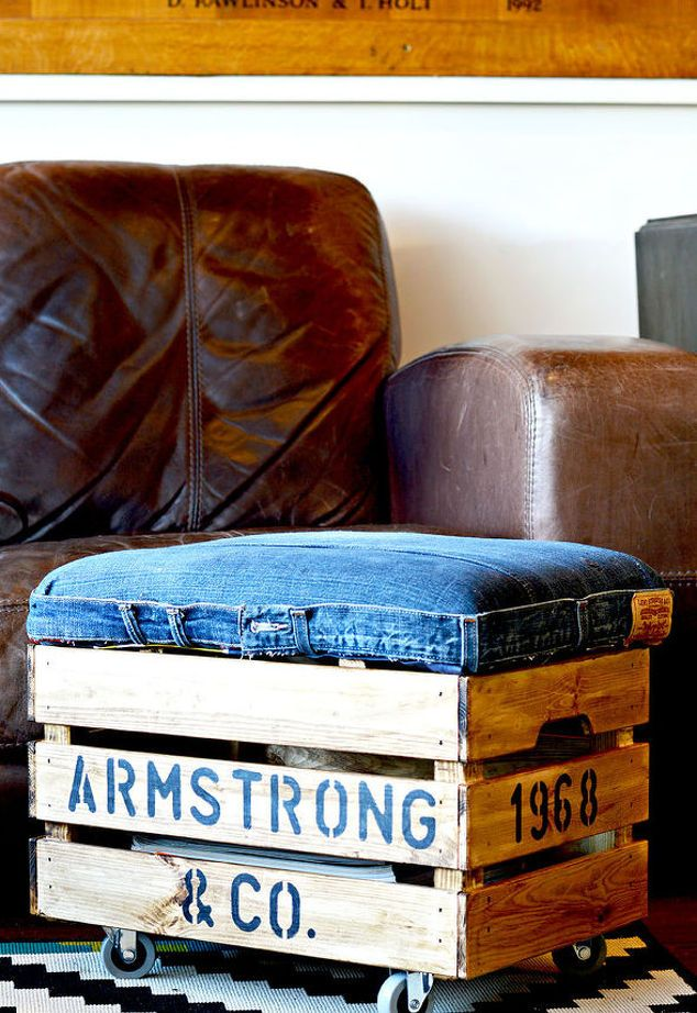 DIY an Awesome Footstool With Storage From Jeans and a Crate ...