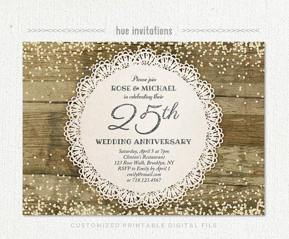 25th Wedding Anniversary Invitation Silver Anniversary Party