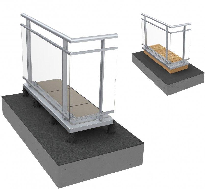 Garde-corps en aluminium et en verre fixé sur dalle sur plots ou sur