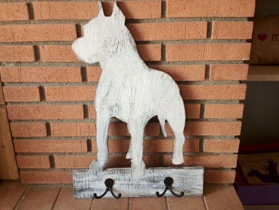 Wall Hooks & Door Hangers Staffie On A Bone Dog Lead Holder