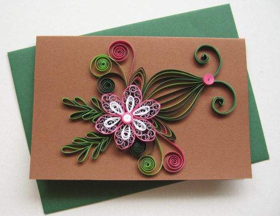 Part of quilled birthday card paper handmade greeting also quilling rh br pinterest