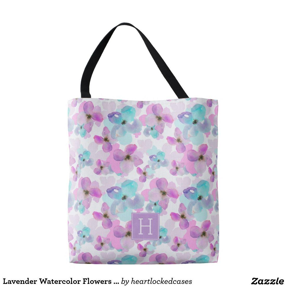 Lavender Watercolor Flowers Monogram Tote Bag