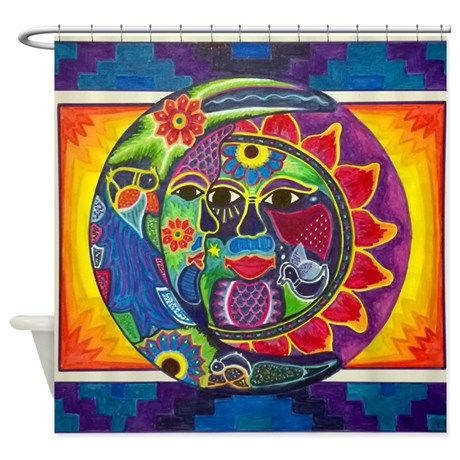 Mexican Styled Sun And Moon Shower Curtain On Cafepress Com Tapestry Moon Art Painting