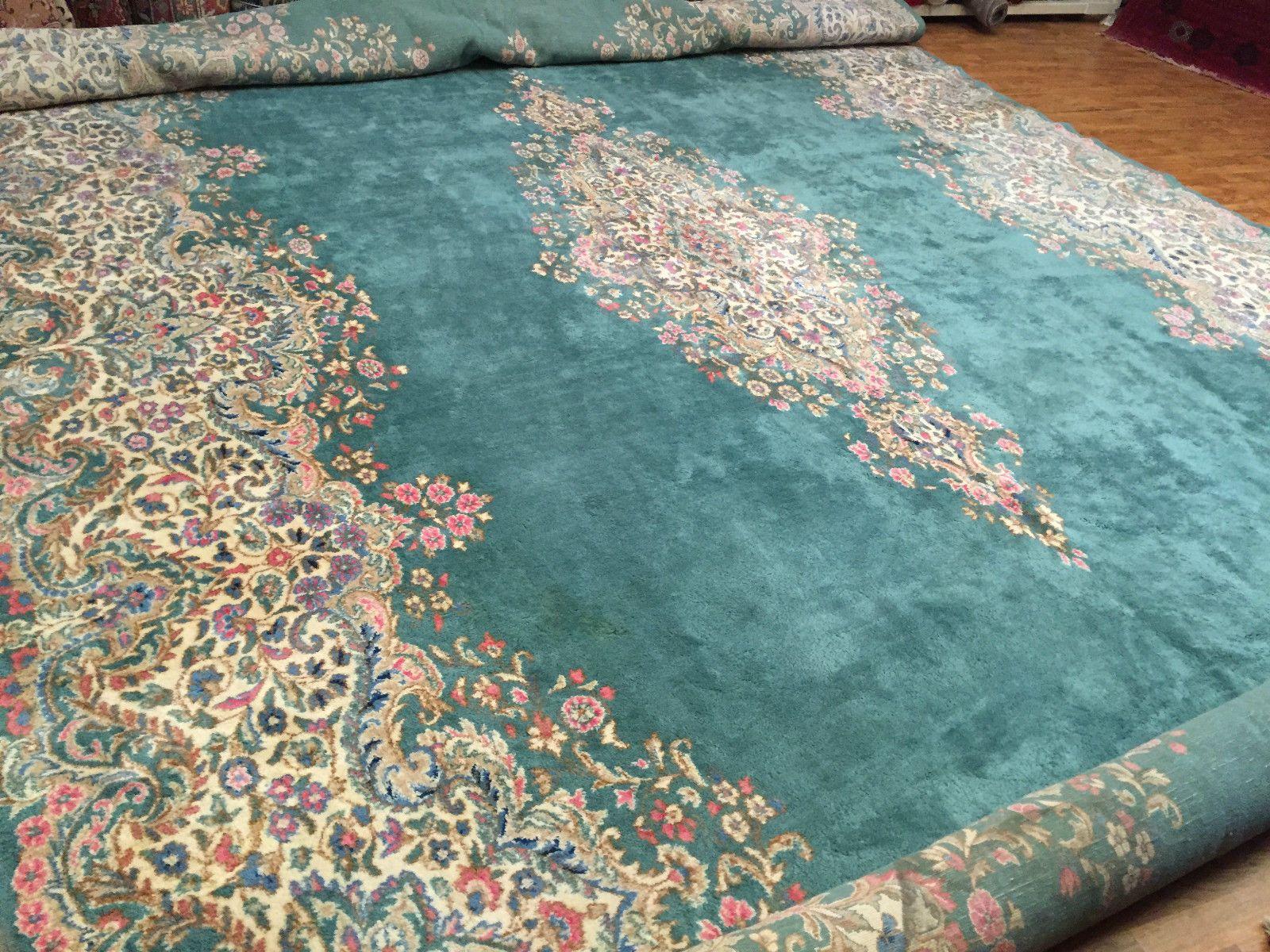 Handmade Persian Kerman Rug Turquoise Blue Size 12 Ft X 21 Beautiful