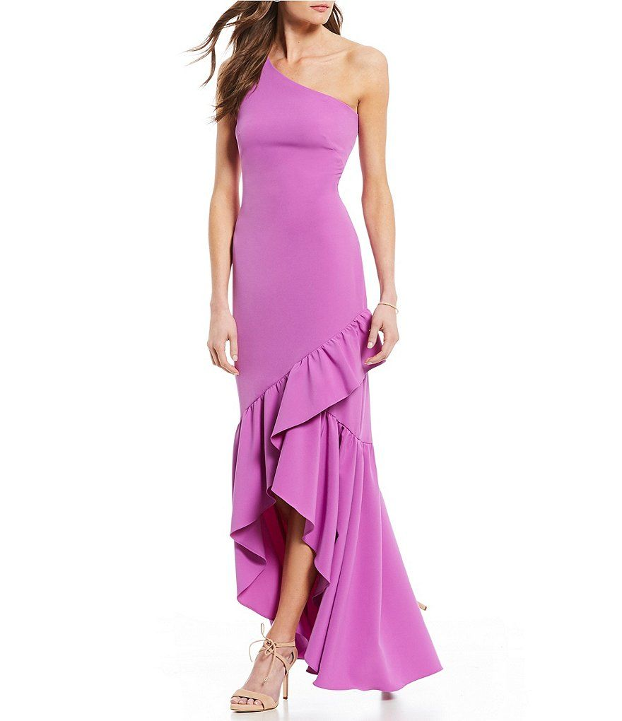 Vince Camuto One Shoulder Crepe Ruffled High Low Gown Formal Dresses For Women Dresses Gowns [ 1020 x 880 Pixel ]