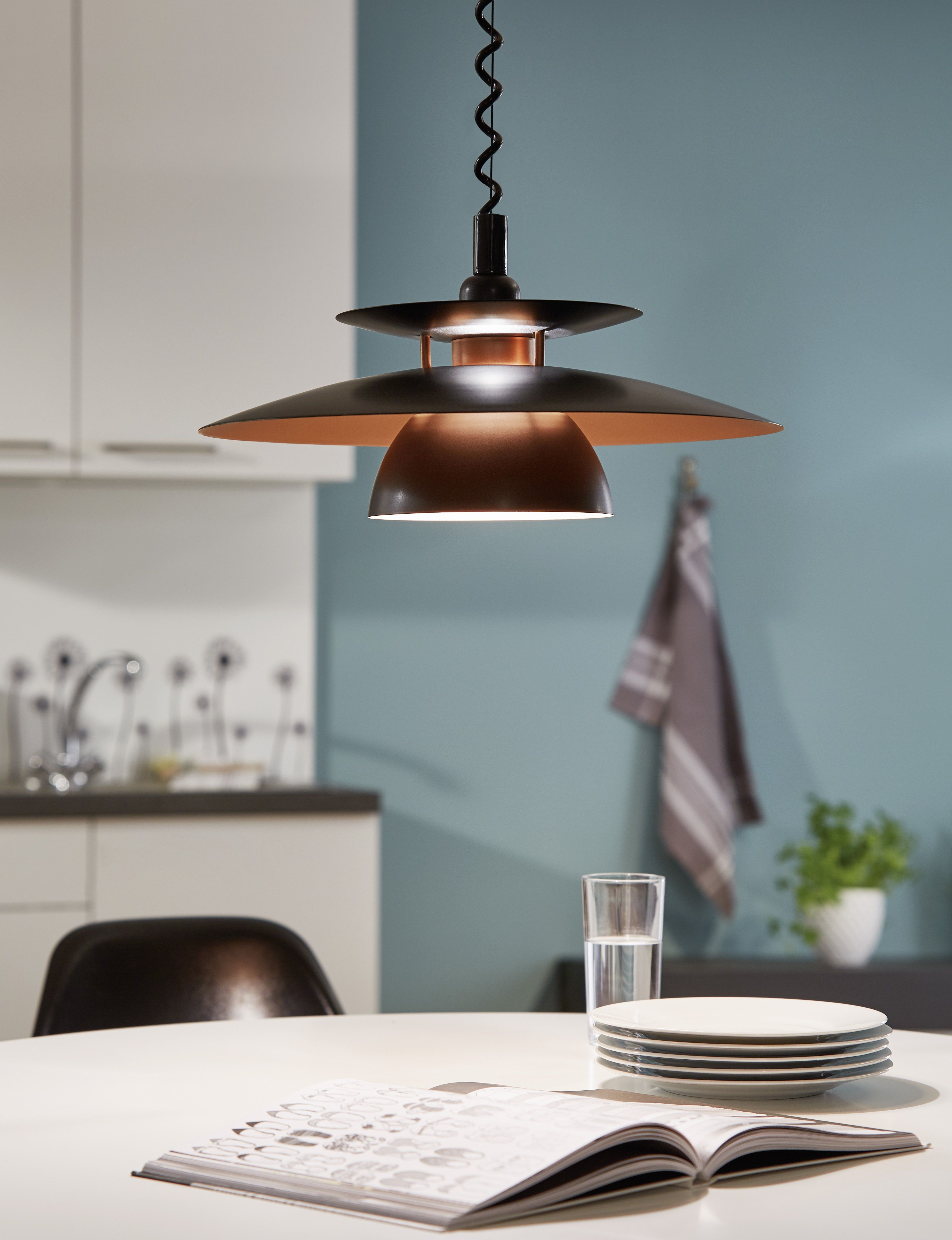 The Brenda pendant by Eglo Lighting features a layered metal shade ...