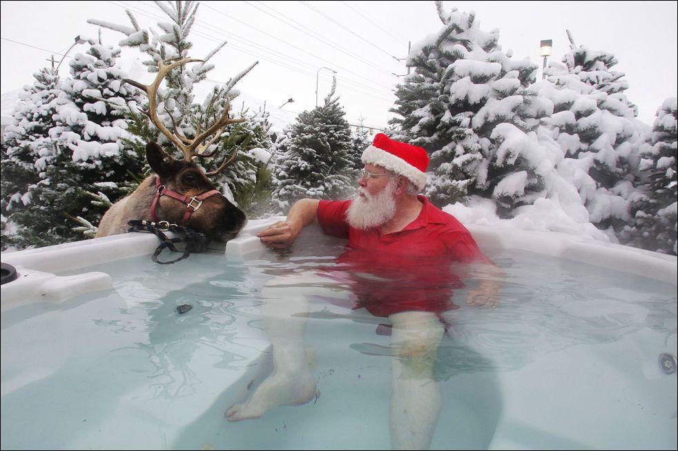 Santa likes hot tubs.