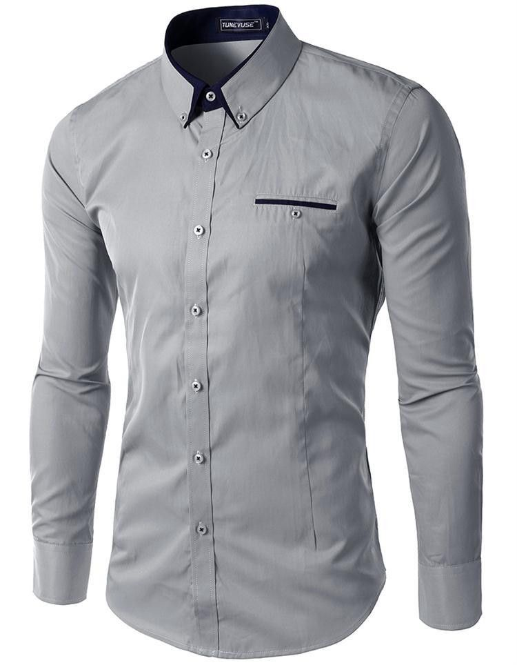 Men Long Sleeved Turn-down Collar White Black Color Single Breasted Casual Shirt