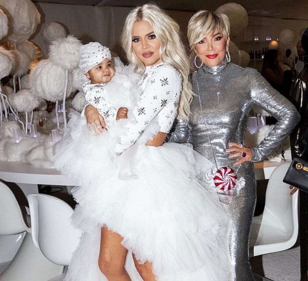 Khloe Kardashian Wedding Gown: Khloe Kardashian With Her Princess True Thompson & Mother