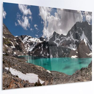 DesignArt 'Distant Mountains and Mountain Lake' LED Photographic Print on Metal