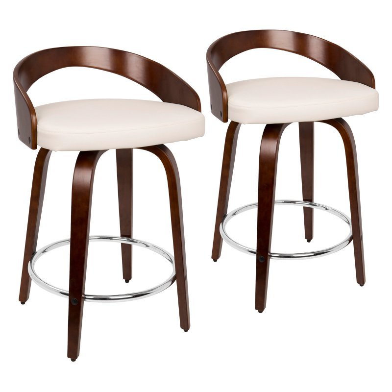 Lumisource Grotto 24 In Keyhole Swivel Counter Stool Set Of 2