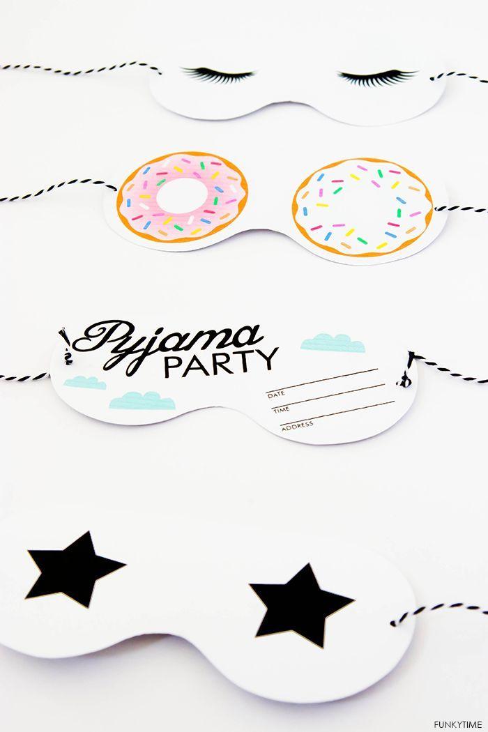 pajama party eye mask invitation   mis ideas   Pinterest   DIY party