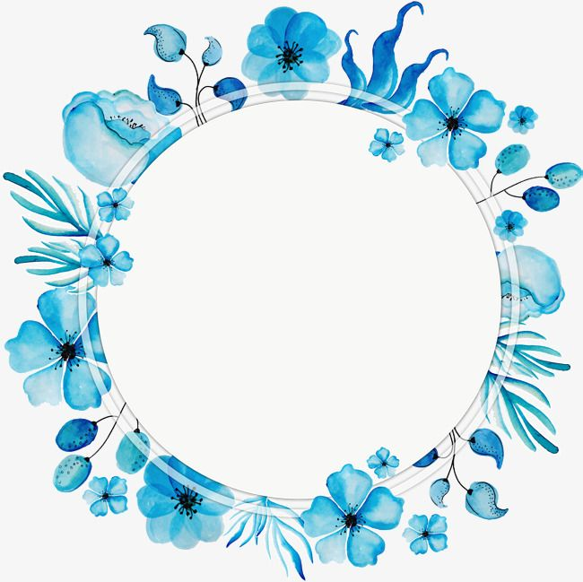 Watercolor Blue Wreath Title Blue Blue Wreath Watercolor Png