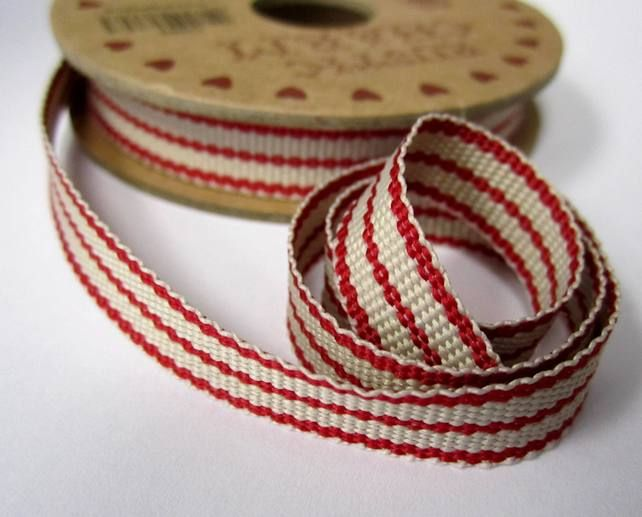 6 Metres Of Woven Stripey Ribbon Scandinavian Christmas Red Natural Christmas Ribbon Scandinavian Christmas Red Christmas