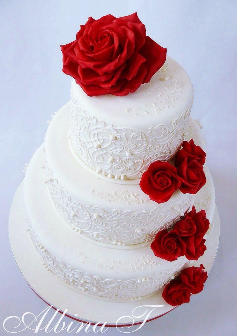 Red roses wedding cake | Wedding cakes | Pinterest | Wedding cake ...