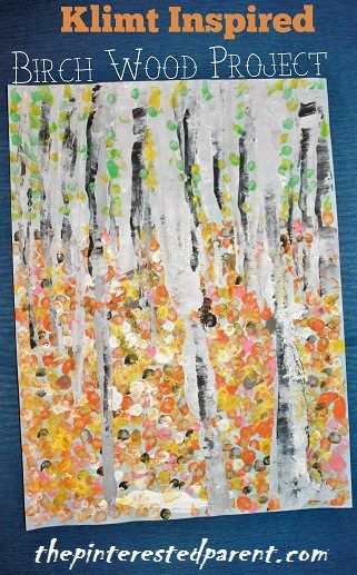 Gustav Klimt Inspired Art Project - Inspired by The Birch Forest, this craft was made Q-tips
