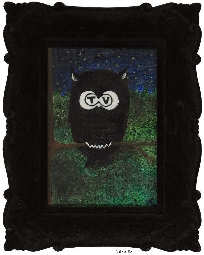 #MTV3 owl painting by Vappu Vilke