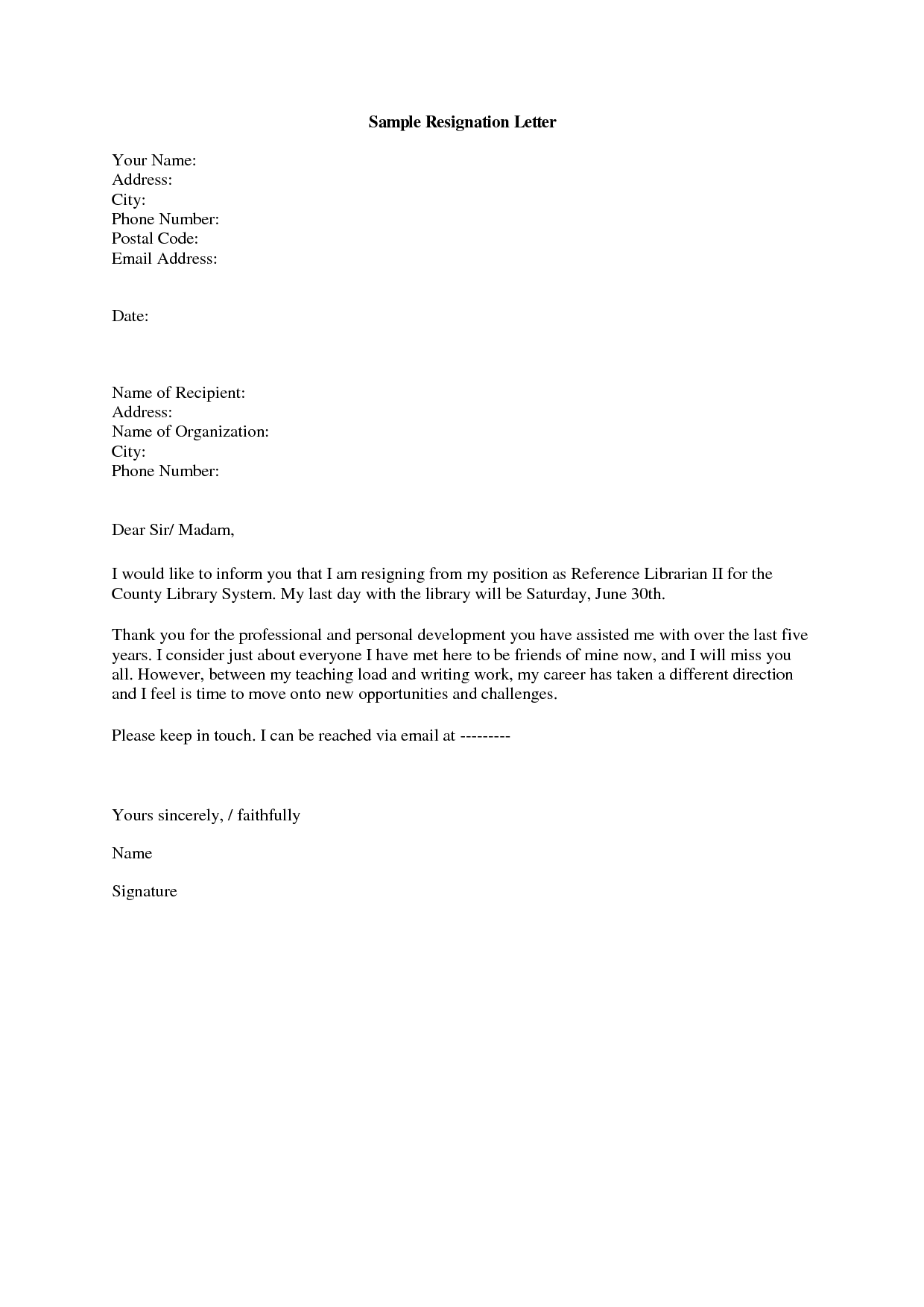 Email Resignation Letter Sample      Letters
