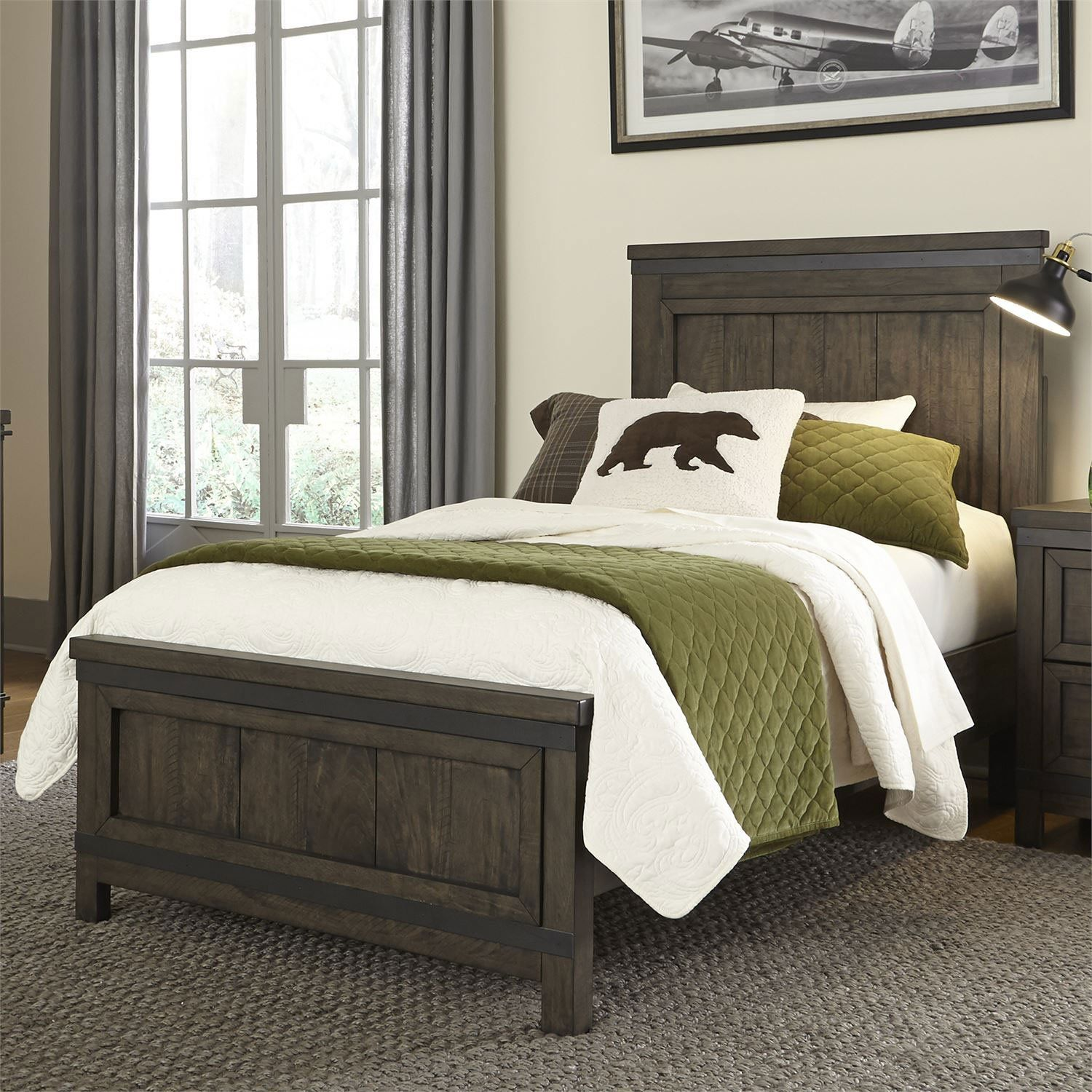 Industrial Rustic Gray Twin Bed Thornwood Hills Liberty