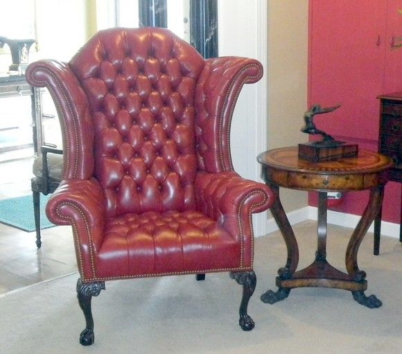 This Red Leather George III Tufted Wing Chair ($2,925) Stands 54 Inches  High And
