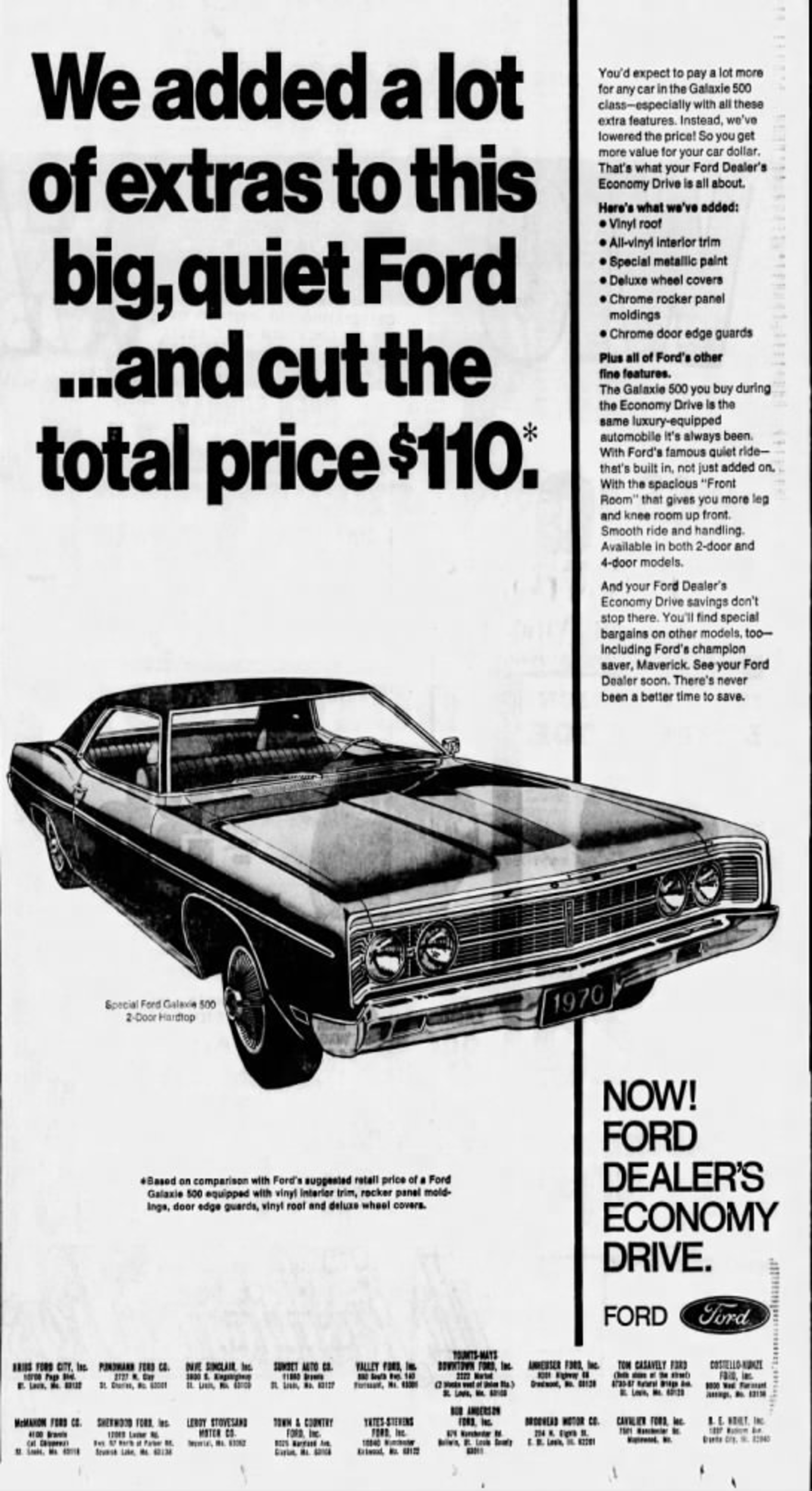 1970 Ford Galaxie 500 Ad In 2020 Used Car Lots Ads Ford