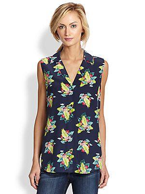 df712ff729863 Equipment Keira Tropical-Print Silk Sleeveless Shirt