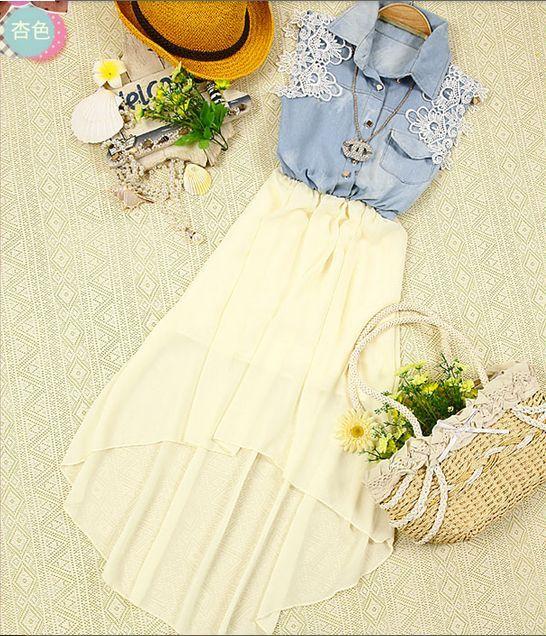 Платье с джинсовым верхом и шифоновым