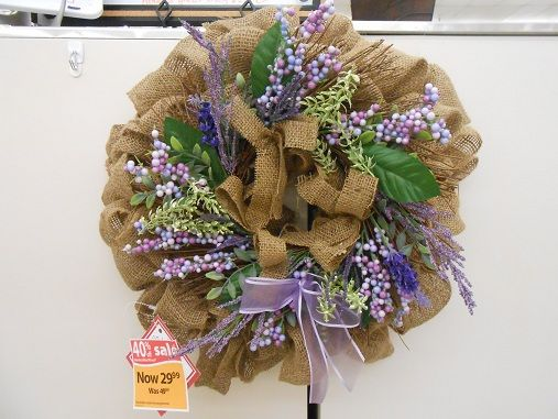small burlap and lavender wreath
