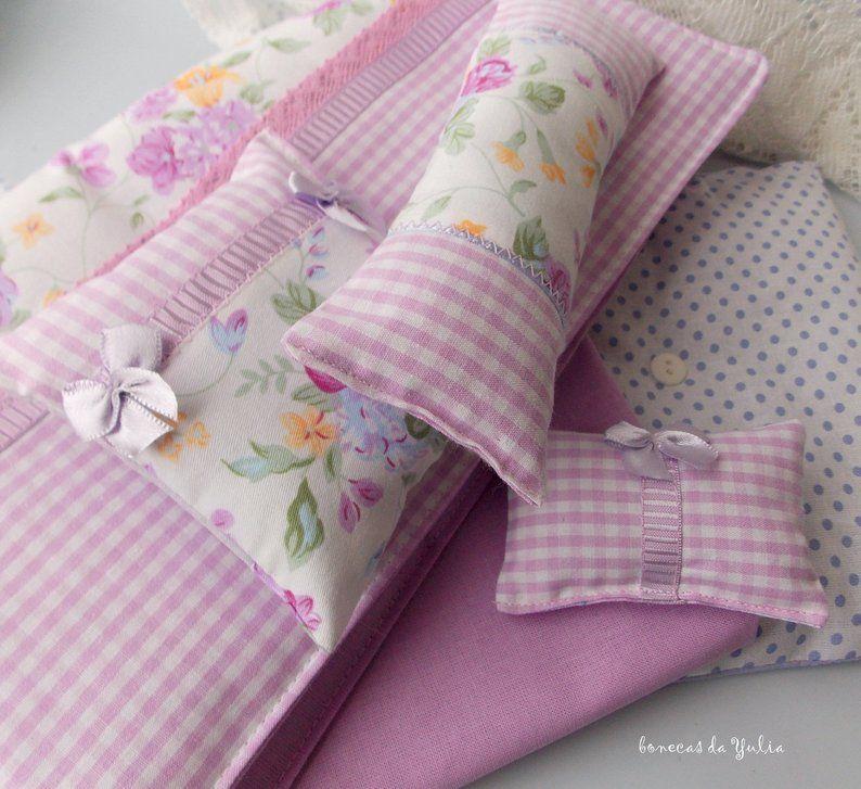 Doll purple 6 pcs floral bedding set Barbie Monster high Blythe Bratz 1/6 bjd 12 inch Pullip bed clothes Blanket mattress pillow doll #bearbedpillowdolls