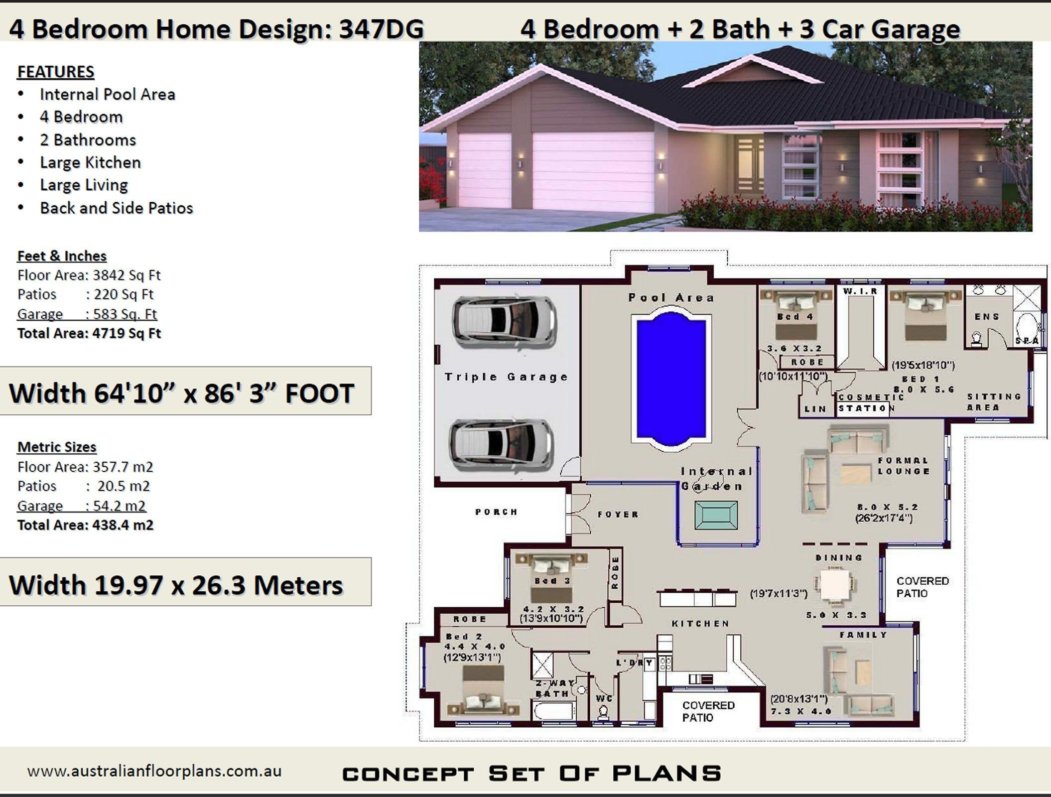 4 Bedroom House Plans Full Concept Plans For Sale Etsy House Plans Australia Modern House Plans House Plans For Sale