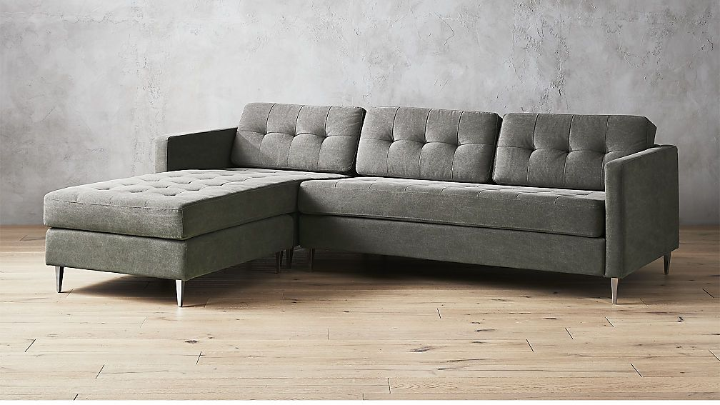 Ditto Ii Pewter Tufted Sectional Sofa Grey Sectional Sofa