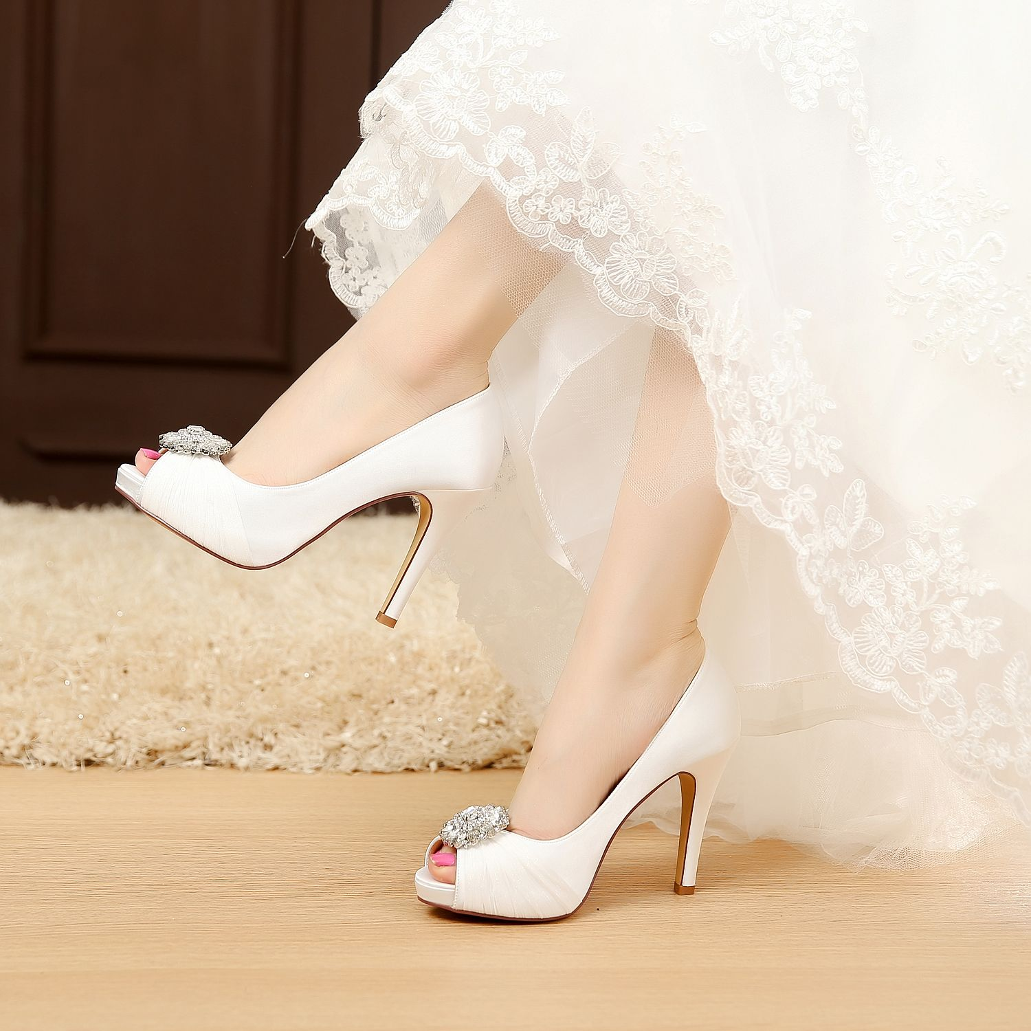 """satin Heel measures approximately 4.5 inches"""" brid"""