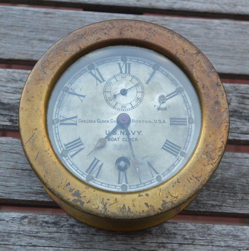 Rare wwi chelsea clock company us navy boat clock #104668 antique ...
