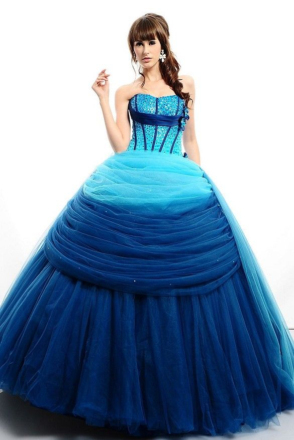 Ruched Sweetheart Empire Organza Ball Gown Quinceanera Dress-Dressfame.com
